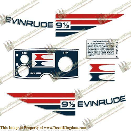 Evinrude 1973 9.5hp Outboard Decal Kit 3M Marine Grade