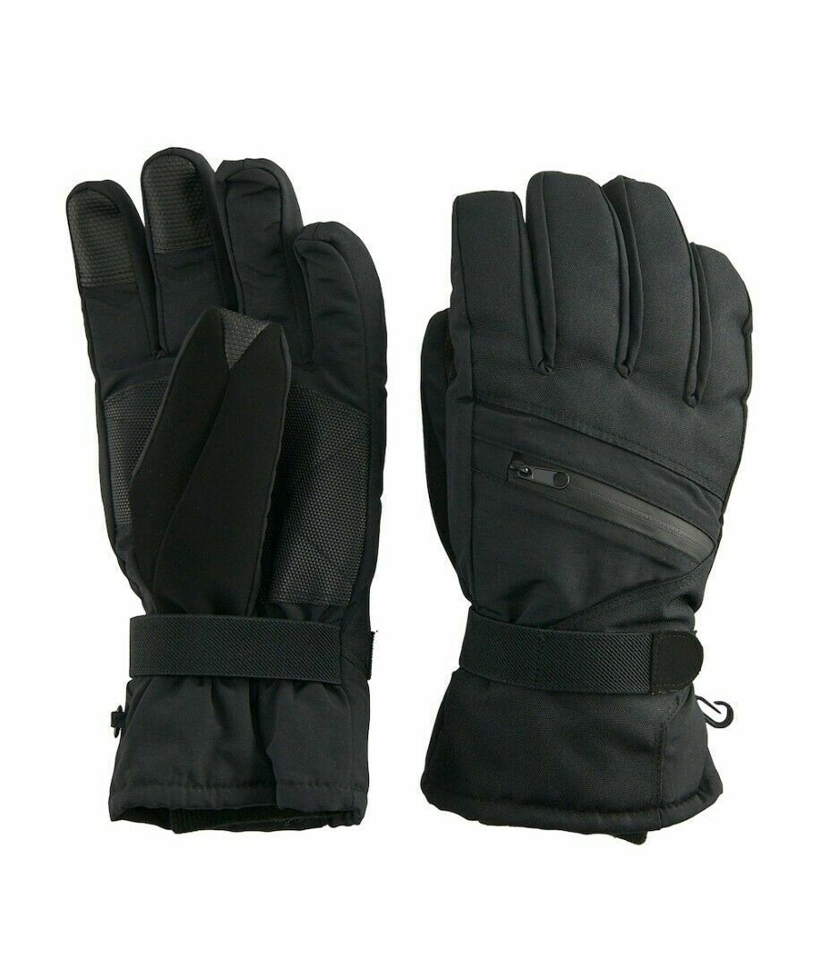 Tek Gear Heat Tek Men's Thinsulate Touch Screen Ski Gloves Black Tie L/XL (M171)