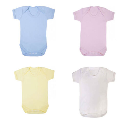Up to 6-12mth Baby Grow,Plain Bodysuit Vest,100/% Cotton Pink//Blue//White//Yellow