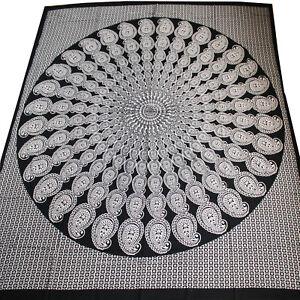 Tagesdecke-Bettueberwurf-Paisley-Mandala-Sofa-Uberwurf-Baumwolle-Schwarz-Weiss