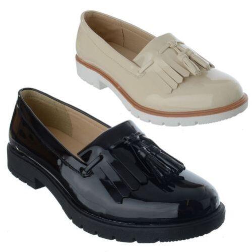 Damen NEU klassisch Fransen Flache Slipper Lässig Elegant Schuhe Pumps Größe