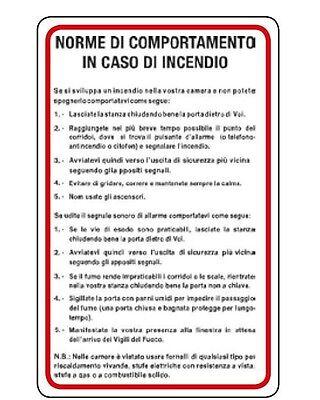 Cartello segnaletica norme da seguire in caso di incendio in alluminio 470x330mm