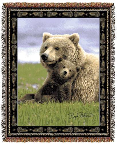 67x53 BEAR Cub Wildlife Nature Tapestry Throw Blanket