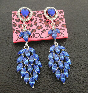Women-039-s-Blue-Crystal-Rhinestone-Leaf-Betsey-Johnson-Stud-Earrings