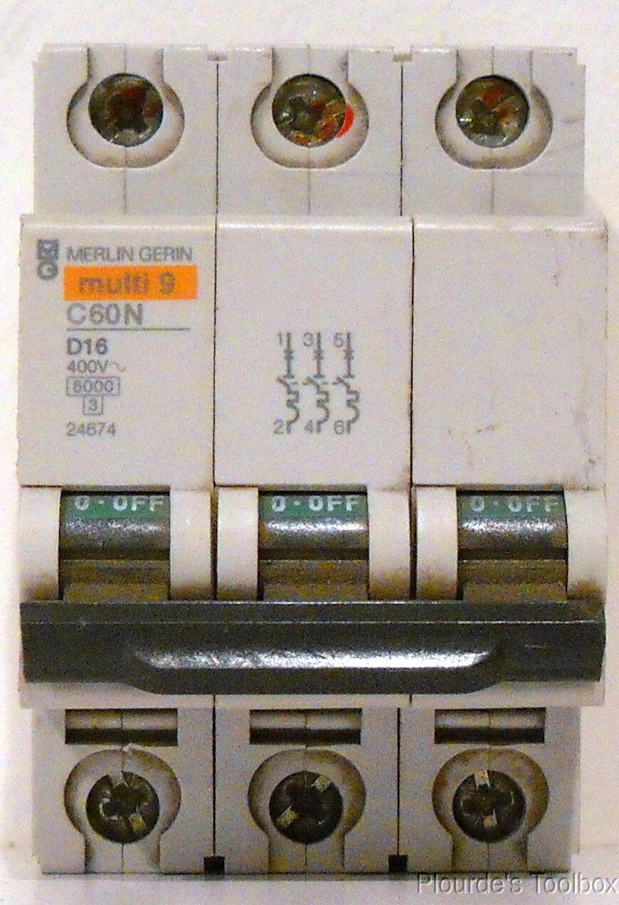 MERLIN GERIN #C60N MULTI 9 CIRCUIT BREAKER TYPE C  M102A 16 AMP