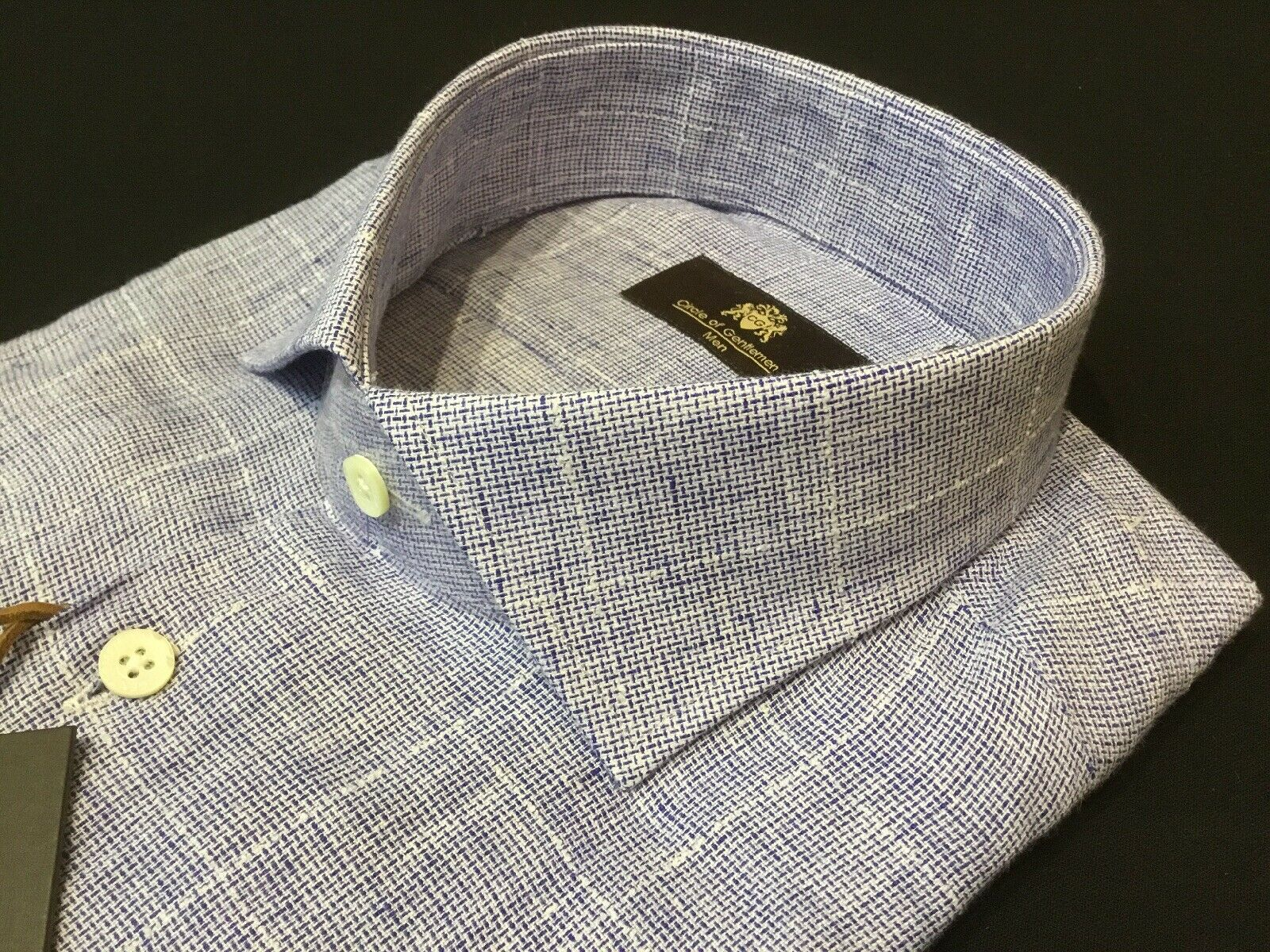 "Circle of Gentlemen  17 1 2"" Collar  50 1 2"" Chest  bluee Linen Shirt  RRP"