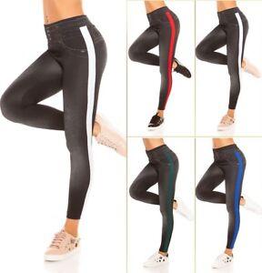 Leggings Hose Jeans Look Hoher Bund LEO Kontrast Streifen !
