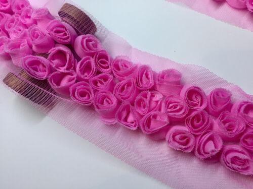 3 Rosa Flor Rosa recorte-Roseta de Fila Ribete De Encaje-Net Tul Nupcial-Por M