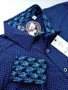 Robert Graham Diamond Geometric Check Print Blue White Sports Shirts