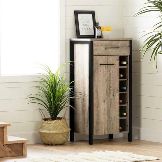 Munich Bar Cabinet with Storage-Weathered Oak and Matte Black-South Shore