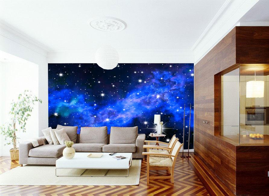 3D bluee Galaxie Fototapeten Wandbild Fototapete Bild Tapete Familie Kinder