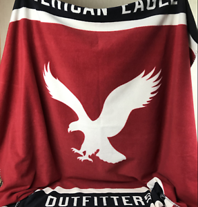 American Eagle Fleece Blanket Throw Stadium Limited Edition Red White bluee 60X50