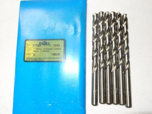 """10 new GREENFIELD 19//64/"""" Jobber Length HSS Twist Drill Bits bright finish 311399"""