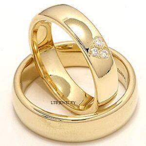 14K YELLOW GOLD MATCHING HIS & HERS WEDDING BANDS DIAMONDS ... - photo #2