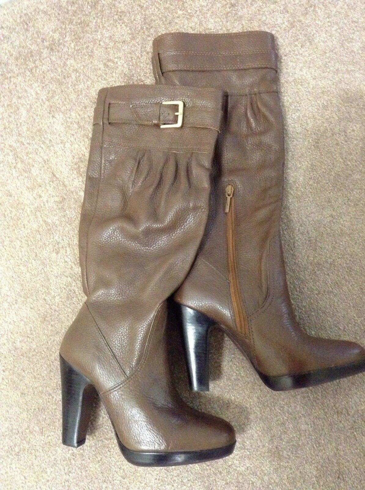 Zara Para Mujer De Cuero Marrón rodilla rodilla rodilla alta botas   Zapatos Talla 37, apartado 6 1 2) al por menor  149  sin mínimo