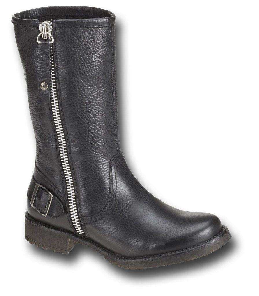 HARLEY Davidson Donna a baisley Neri in Pelle Fibbia Zip Stivali Biker boot