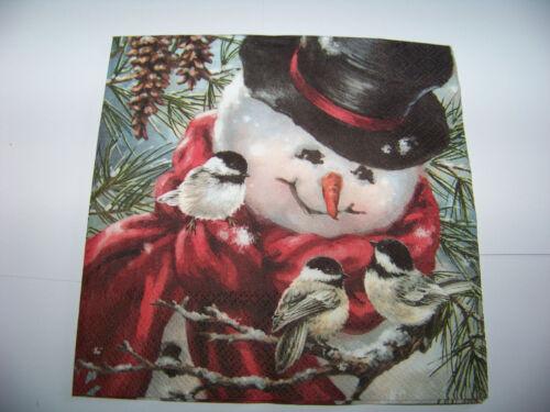 3  Servietten Weihnachten Freddy the Snowman Schneemann mit Vögel