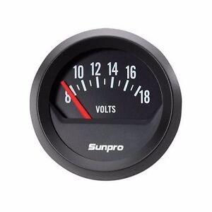 Sunpro-2-034-Electrical-Voltmeter-Gauge-Black-Dial-Style-Line-new-item