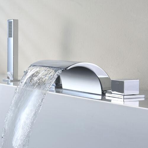 5pcs Waterfall Wide Spout Shower Set Bathtub Faucet 3 Handles Chrome Finished