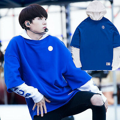 KPOP BTS Suga Sweatershirt False Two Cap Hoodie Sweater Plus Velvet Bangtan Boys