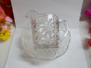LOVELY-CLEAR-DEPRESSION-GLASS-BOWL-AND-JUG-NOT-A-SET-GC-591