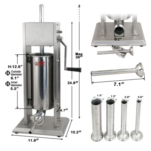 5L Vertical Commercial Home Sausage Stuffer 11LB 2 Speed Stainless Meat Press