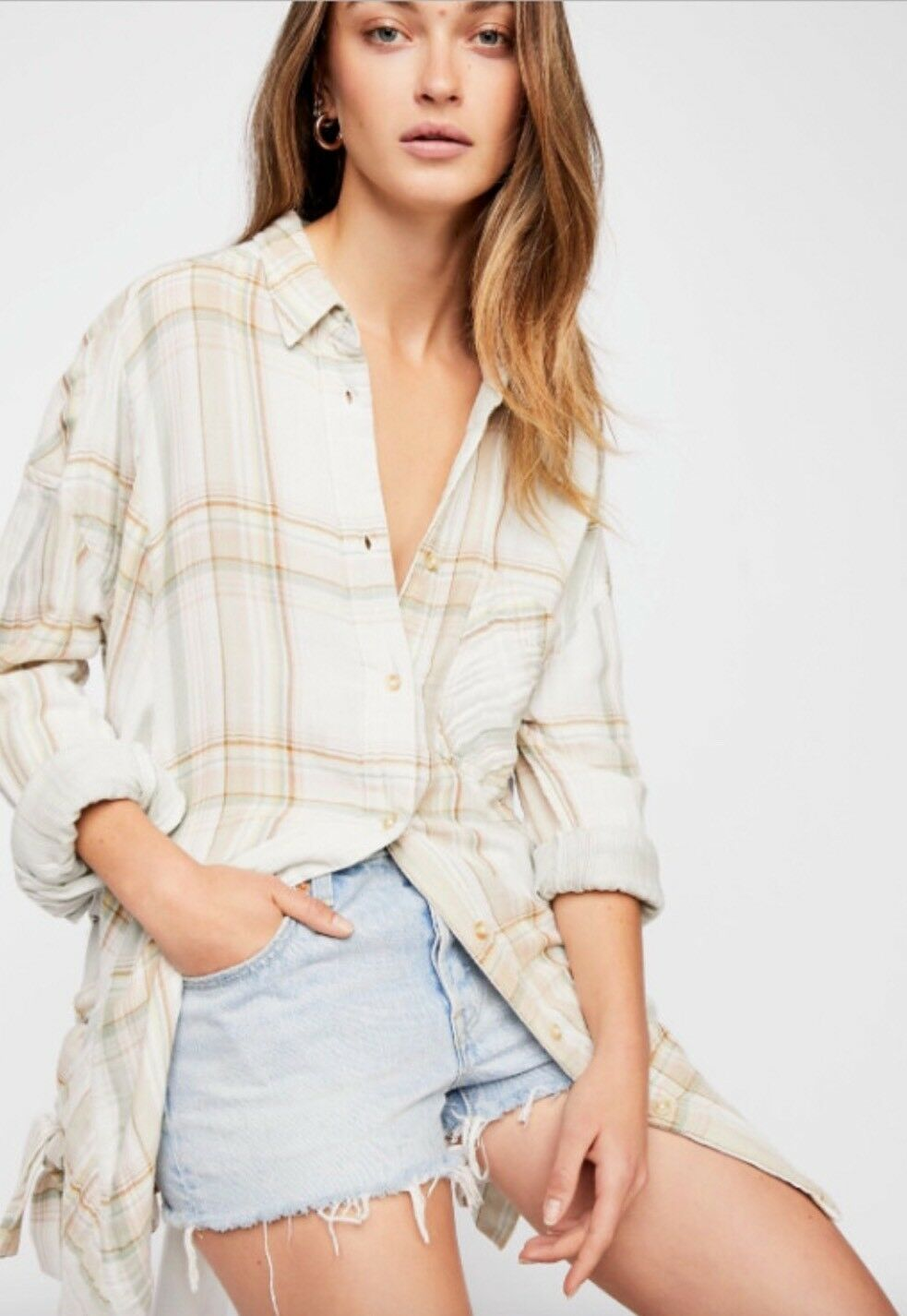 NWT Free People Nordic Plaid Button Down Shirt Top Ivory Combo Side Lace Up L
