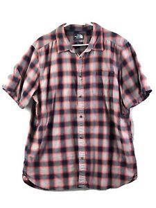 The-North-Face-Button-Up-Shirt-Mens-XL-Red-Blue-Plaid-Short-Sleeve-Cotton-Euc