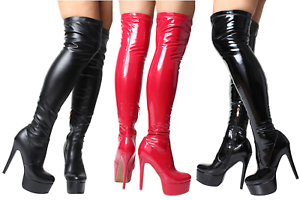 Ladies-Black-Red-Patent-Sexy-Over-Knee-Thigh-High-Heel-Platform-Stretch-Boots