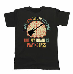 Mens-Womens-BASSIST-T-Shirt-My-Brain-Is-Playing-BASS-Music-Tee-Guitar-Gift-Funny