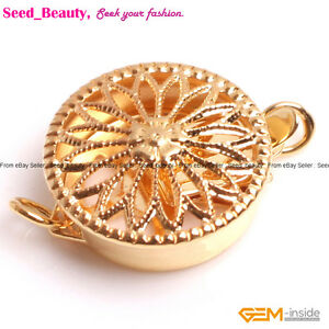 13mm Jewelry Findings 2-Strands Yellow Gold Plated  Sunflower Clasps 10 Pcs