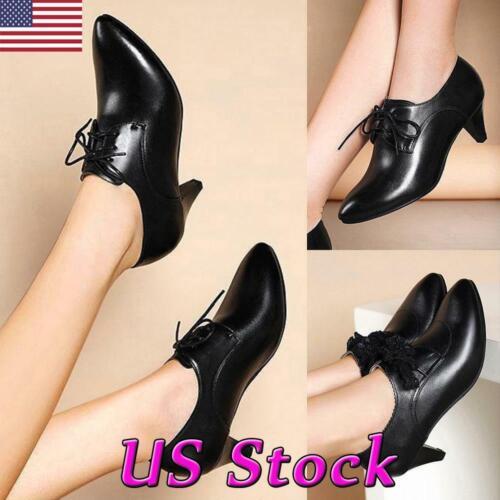 Women Kitten Heel Oxford Loafers Office Ladies Pointed Toe Mid Heel Casual Shoes