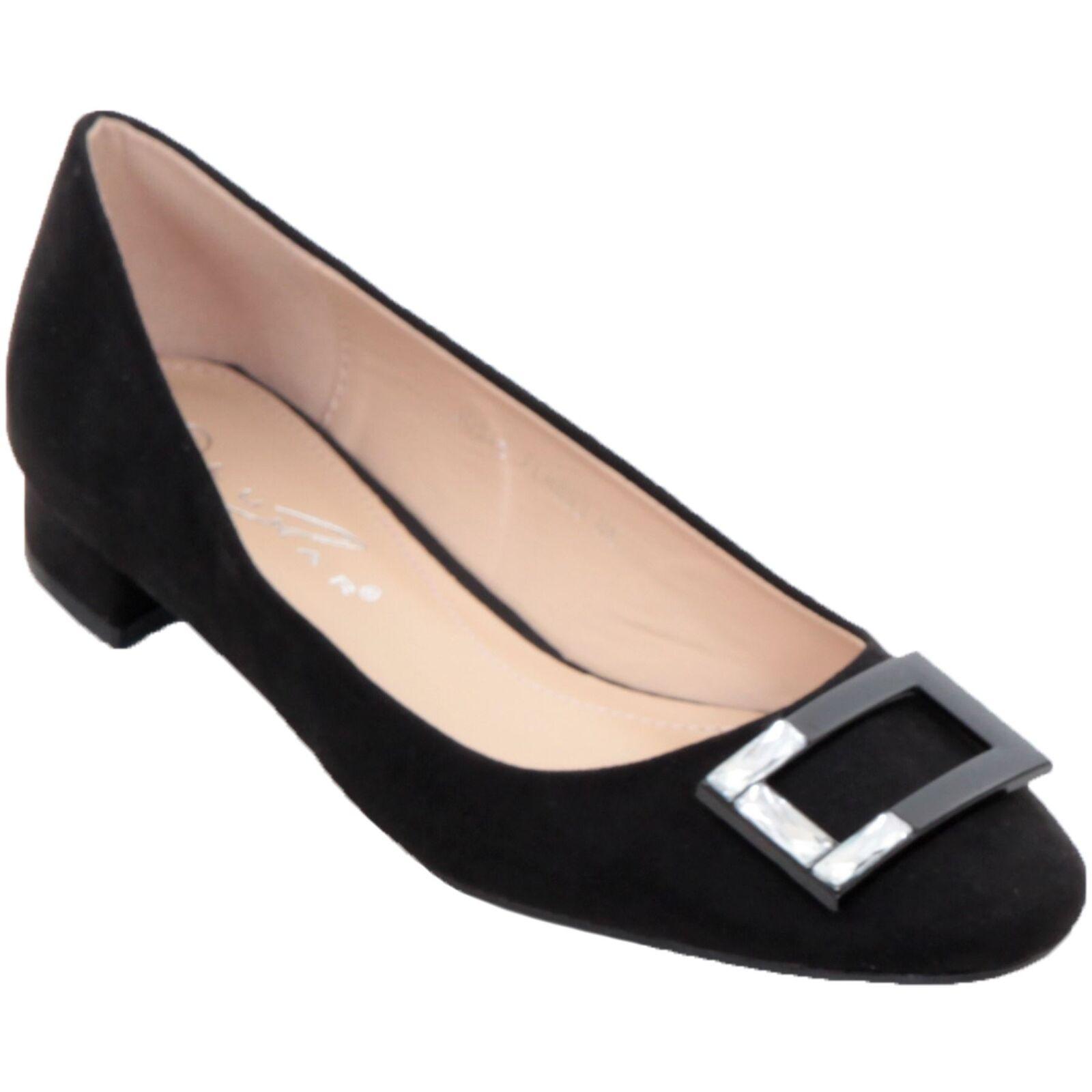 FLH893 JOSIE Diamante Buckle Faux Suede Low Block Heels Slip On shoes