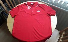 Para hombres Genuino Puma Nº 1 Logotipo Camisa Polo Piqué Manga Corta Top Talla Xl Rojo.