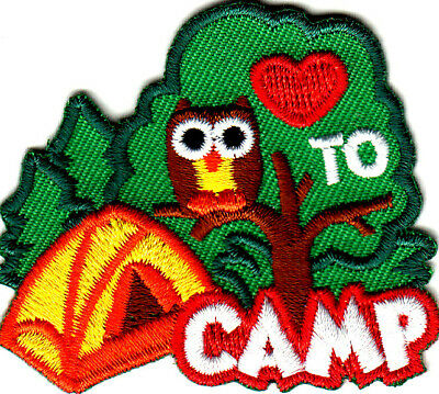 """/""""I LOVE TO CAMP/"""" Iron On Patch Scouts Cub Girl /""""Boy Camper Camping"""