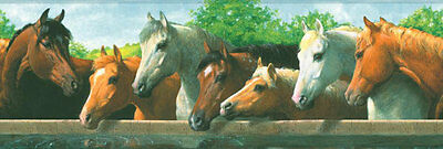 Horses at the Watering Trough Wallpaper Border