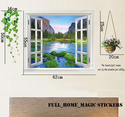 Huge 3D Window Mountain Riverview Landscape Wall Stickers Mural Art Decal Paper