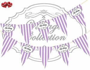 Vintage-Bunting-Black-Sign-Tea-Party-Candy-Lilac-amp-White-Stripes-Banner-15-flags