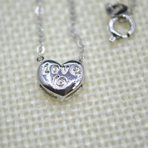 Shiny-925-Sterling-Silver-Plt-Cute-Small-Love-Heart-Pendant-Necklace-18-034-Gift-UK