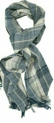 ladies or mens grey Tom Franks tartan check knitted style fringe scarf NEW