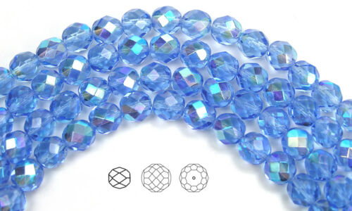 Czech Fire Polished Round Faceted Glass Beads in Light Sapphire AB coated blue