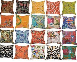 Indian Kantha Pillow Cases 16x16 2 Pcs Decorative Vintage Throw Cushion Cover