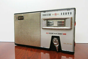 Early-Sanyo-Allwave-De-Luxe-Vintage-2-band-Transitor-Radio