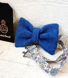 HARRIS TWEED /& LIBERTY PRINT MUSTARD YELLOW BOW TIE WEDDING ASCOT GROOM BLUE