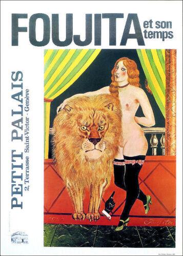 FOUJITA Woman and Lion Circus 1978 Poster Print 16 x 11-1//2