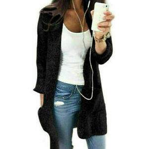 Blouse-Women-Long-Sleeve-Knit-Open-Front-Cardigan-Sweater-Shirt-Top-Jacket-Coat