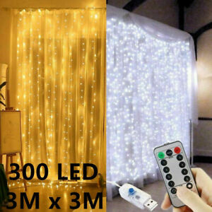 300-LED-Curtain-Lights-String-3m-3m-USB-Powered-Waterproof-Twinkle-Wall-Lights