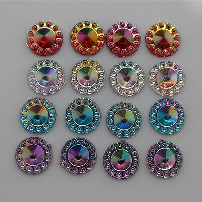 8mm 300pcs AB Round Acrylic Rhinestones Acrylic crystal Flat Back Beads ZZ-276