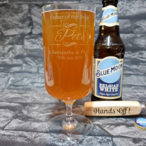 Personalised Stemmed Beer glass,Bridal party Groom//Best Man 400ml BGA83