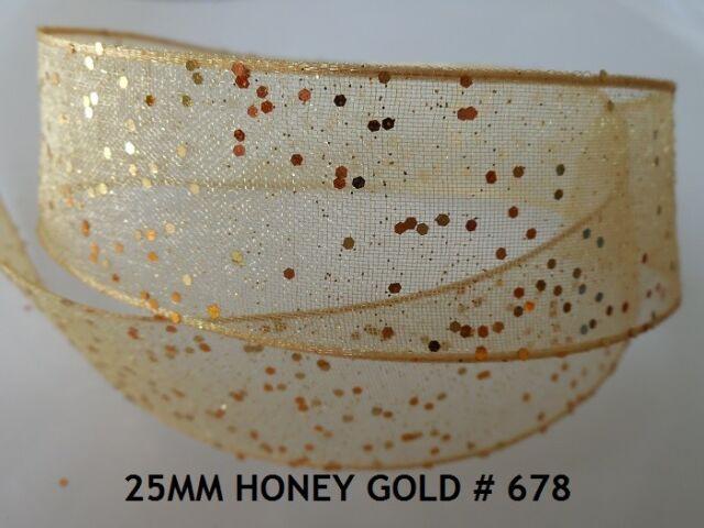Wired Edge Random Glitter Ribbon-Berisfords-15mm//25mm-Per Metre-Wedding,Trim